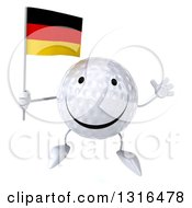 Clipart Of A 3d Happy Golf Ball Character Jumping And Holding A German Flag Royalty Free Illustration