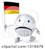 Clipart Of A 3d Unhappy Golf Ball Character Walking And Holding A German Flag Royalty Free Illustration