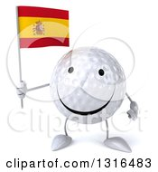 Clipart Of A 3d Happy Golf Ball Character Holding A Spanish Flag Royalty Free Illustration