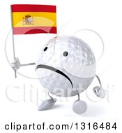 Clipart Of A 3d Unhappy Golf Ball Character Walking Slightly To The Left And Holding A Spanish Flag Royalty Free Illustration