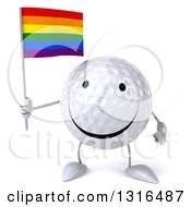 Clipart Of A 3d Happy Golf Ball Character Holding A Rainbow Flag Royalty Free Illustration