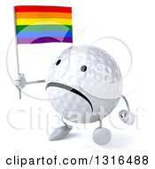 Clipart Of A 3d Unhappy Golf Ball Character Walking Slightly To The Left And Holding A Rainbow Flag Royalty Free Illustration