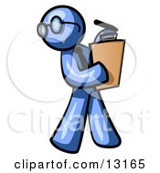 Blue Man Holding A Clipboard While Reviewing Employess Clipart Illustration by Leo Blanchette