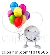 Clipart Of A 3d Happy Golf Ball Character Holding And Pointing To Party Balloons Royalty Free Illustration