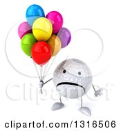 Clipart Of A 3d Unhappy Golf Ball Character Shrugging And Holding Party Balloons Royalty Free Illustration