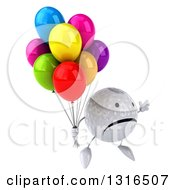 Clipart Of A 3d Unhappy Golf Ball Character Facing Slightly Right Jumping And Holding Party Balloons Royalty Free Illustration