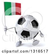 Clipart Of A 3d Soccer Ball Character Walking And Holding A Italian Flag Royalty Free Illustration