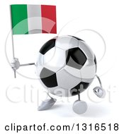 Clipart Of A 3d Soccer Ball Character Walking Slightly Left And Holding A Italian Flag Royalty Free Illustration