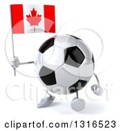 Clipart Of A 3d Soccer Ball Character Walking Slightly Left And Holding A Canadian Flag Royalty Free Illustration