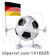 Clipart Of A 3d Soccer Ball Character Giving A Thumb Up And Holding A German Flag Royalty Free Illustration