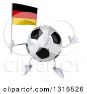 Clipart Of A 3d Soccer Ball Character Jumping And Holding A German Flag Royalty Free Illustration