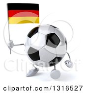 Clipart Of A 3d Soccer Ball Character Walking Slightly Left And Holding A German Flag Royalty Free Illustration