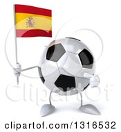 Clipart Of A 3d Soccer Ball Character Holding And Pointing To A Spanish Flag Royalty Free Illustration
