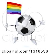 Clipart Of A 3d Soccer Ball Character Jumping And Holding A Rainbow Flag Royalty Free Illustration