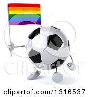 Clipart Of A 3d Soccer Ball Character Walking Slightly Left And Holding A Rainbow Flag Royalty Free Illustration
