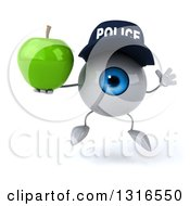 Clipart Of A 3d Blue Police Eyeball Character Jumping And Holding A Green Apple Royalty Free Illustration