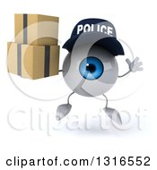 Clipart Of A 3d Blue Police Eyeball Character Jumping And Holding Boxes Royalty Free Illustration