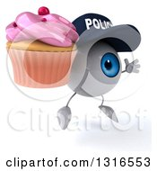 Clipart Of A 3d Blue Police Eyeball Character Facing Right Jumping And Holding A Pink Frosted Cupcake Royalty Free Illustration