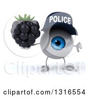 Clipart Of A 3d Blue Police Eyeball Character Giving A Thumb Down And Holding A Blackberry Royalty Free Illustration