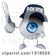 Clipart Of A 3d Blue Police Eyeball Character Holding And Pointing Ot A Key Royalty Free Illustration