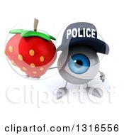 Clipart Of A 3d Blue Police Eyeball Character Holding Up A Strawberry Royalty Free Illustration
