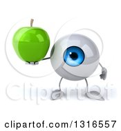 Clipart Of A 3d Blue Eyeball Character Holding A Green Apple Royalty Free Illustration