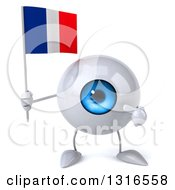 Clipart Of A 3d Blue Eyeball Character Holding And Pointing To A French Flag Royalty Free Illustration