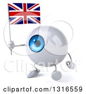 Clipart Of A 3d Blue Eyeball Character Walking Slightly To The Left And Holding A Union Jack Flag Royalty Free Illustration