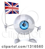 Clipart Of A 3d Blue Eyeball Character Giving A Thumb Down And Holding A Union Jack Flag Royalty Free Illustration