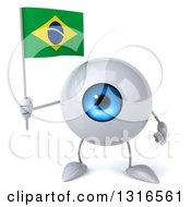 Clipart Of A 3d Blue Eyeball Character Holding A Brazilian Flag Royalty Free Illustration