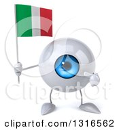 Clipart Of A 3d Blue Eyeball Character Holding And Pointing To An Italian Flag Royalty Free Illustration