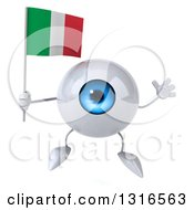 Clipart Of A 3d Blue Eyeball Character Jumping And Holding An Italian Flag Royalty Free Illustration