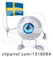 Clipart Of A 3d Blue Eyeball Character Holding A Swedish Flag Royalty Free Illustration