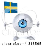 Clipart Of A 3d Blue Eyeball Character Giving A Thumb Up And Holding A Swedish Flag Royalty Free Illustration