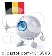 Clipart Of A 3d Blue Eyeball Character Walking Slightly Left And Holding A Belgian Flag Royalty Free Illustration