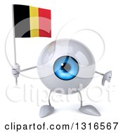 Clipart Of A 3d Blue Eyeball Character Giving A Thumb Down And Holding A Belgian Flag Royalty Free Illustration