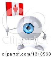 Clipart Of A 3d Blue Eyeball Character Holding A Canadian Flag Royalty Free Illustration