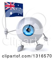 Clipart Of A 3d Blue Eyeball Character Walking And Holding An Australian Flag Royalty Free Illustration