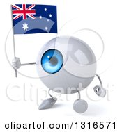 Clipart Of A 3d Blue Eyeball Character Walking Slightly Left And Holding An Australian Flag Royalty Free Illustration