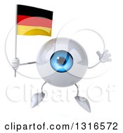 Clipart Of A 3d Blue Eyeball Character Jumping And Holding A German Flag Royalty Free Illustration