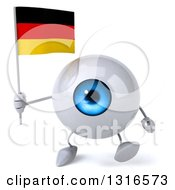 Clipart Of A 3d Blue Eyeball Character Walking And Holding A German Flag Royalty Free Illustration