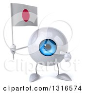 Clipart Of A 3d Blue Eyeball Character Holding And Pointing To A Japanese Flag Royalty Free Illustration