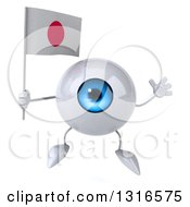 Clipart Of A 3d Blue Eyeball Character Jumping And Holding A Japanese Flag Royalty Free Illustration