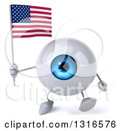 Clipart Of A 3d Blue Eyeball Character Walking And Holding An American Flag Royalty Free Illustration