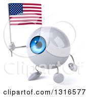 Clipart Of A 3d Blue Eyeball Character Walking Slightly To The Left And Holding An American Flag Royalty Free Illustration