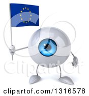 Clipart Of A 3d Blue Eyeball Character Holding A European Flag Royalty Free Illustration