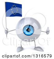 Clipart Of A 3d Blue Eyeball Character Giving A Thumb Up And Holding A European Flag Royalty Free Illustration