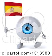 Clipart Of A 3d Blue Eyeball Character Walking And Holding A Spanish Flag Royalty Free Illustration