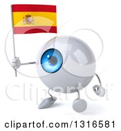 Clipart Of A 3d Blue Eyeball Character Walking Slightly Left And Holding A Spanish Flag Royalty Free Illustration