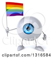 Clipart Of A 3d Blue Eyeball Character Holding A Rainbow Flag Royalty Free Illustration